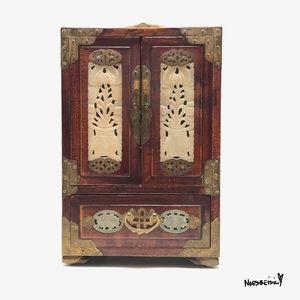 Circa 1900 Jade, Rosewood & Brass Jewelry Box